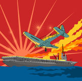 War plane attacking an aircraf. Comic book style illustration of a world war II plane attacking an aircraft carrier vector illustration