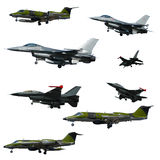 War plane collection isolated on a white background. High resolu Stock Photos
