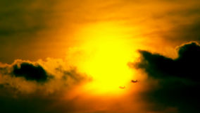 War Planes In The Sunset Gold Sky Hd stock footage