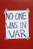 War Protest. A war protest sign that was posted during a peace rally in Cleveland Ohio, Labor Day 2007 Royalty Free Stock Photos