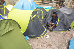 War refugee near the tents. More than half are migrants from Syria stock images