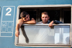 War refugees at the Gyekenyes Railway Station Stock Images
