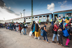 War refugees at the Gyekenyes Railway Station Royalty Free Stock Photos
