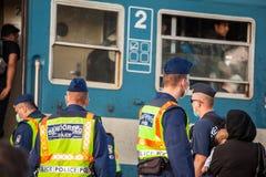 War refugees at the Gyekenyes Railway Station Royalty Free Stock Image