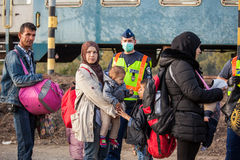 War refugees at the Gyekenyes Railway Station Stock Photography