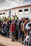 War refugees at the Gyekenyes Railway Station Royalty Free Stock Photo