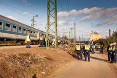 War refugees at the Gyekenyes Railway Station Stock Photos