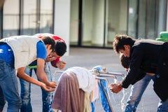 War refugees at the Keleti Railway Station Royalty Free Stock Photo