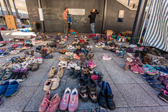 War refugees at the Keleti Railway Station Stock Photography