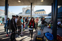 War refugees at the Keleti Railway Station Stock Images