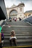 War refugees at the Keleti Railway Station Royalty Free Stock Image