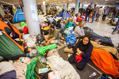 War refugees at the Keleti Railway Station Royalty Free Stock Photo