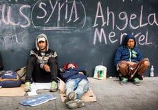 War refugees at the Keleti Railway Station Stock Photos