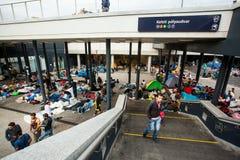 War refugees at the Keleti Railway Station Stock Photo
