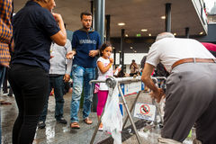 War refugees at the Keleti Railway Station Royalty Free Stock Images