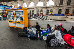 War refugees at the Keleti Railway Station Royalty Free Stock Photography