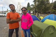 War refugees near the tents. More than half are migrants from Syria Stock Photos