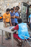War refugees are registered employees of the UNHCR - The UN Refugee Agency. Royalty Free Stock Photo