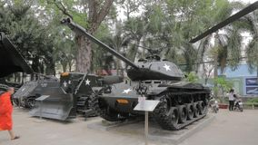 War Remnants Museum in Ho Chi Minh, Vietnam. Mar museum in Ho Chi Minh is located in centre of the city in District 1. It primarily contains exhibits relating to stock footage