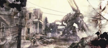 War of robots illustration painting Stock Photography