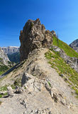 War ruins in Dolomites peak Stock Image