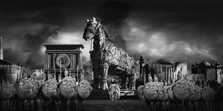 Fall of Troy. War scene with ancient city, warriors and wooden horse Stock Photography