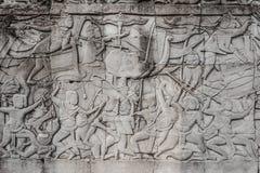 War scene carving prasat bayon temple Angkor Thom Cambodia Stock Image