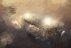War scene. A war tank and an elicopter advancing through explosions in a battle stock illustration
