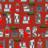 War seamless pattern. Ruined city. Tanks in town. Skyscrapers an Royalty Free Stock Photo