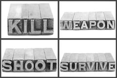 War set signs, kill, weapon, shoot, survive Royalty Free Stock Photo