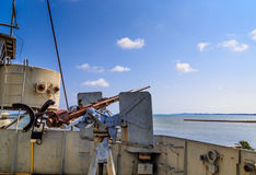 War ship anti air gun Stock Photo