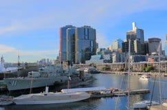 War ship Darling Harbour Sydney cityscape Australia Royalty Free Stock Photos