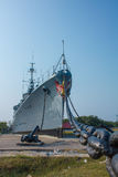 War ship on ground Stock Images