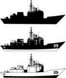 War ship icons. War Military Ship  illustration Stock Image
