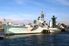 War ship museum. This is the HMS Belfast war ship from the second world war on the Thames river stock images