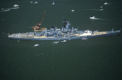 War Ship in New York Harbor, New York City, New York, July 4, 1986 Stock Photos