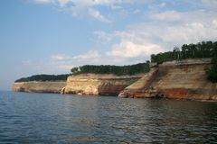 War ship Pictured rocks. War ship shaped pictured rocks Stock Photos