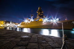 War ship in the port of Trieste Royalty Free Stock Images