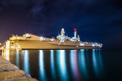 War ship in the port of Trieste Stock Photography