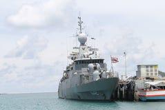 War ship. SATTAHEEP, THAILAND - MAY 11:Sukhothai Thailand war ship stand by at navy base port on May 11, 2013 in Sattaheep, Chonburi, Thailand royalty free stock photos