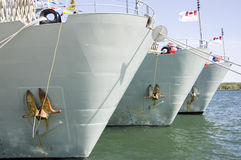 War Ships. Canadian Military War ships docked at Lake Ontario for Canada Day Celebration giving tours to the public Royalty Free Stock Photography