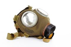 War sign. Gas mask from ww2. Used vintage green and black gas mask can illustrate danger, war, catastrophe, or other concept. Gas. War sign. Gas mask from ww2 Royalty Free Stock Photography
