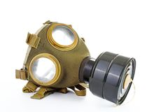 War sign. Gas mask from ww2. Used vintage green and black gas mask can illustrate danger, war, catastrophe, or other concept. Gas. War sign. Gas mask from ww2 Royalty Free Stock Image