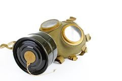 War sign. Gas mask from ww2. Used vintage green and black gas mask can illustrate danger, war, catastrophe, or other concept. Gas. War sign. Gas mask from ww2 Royalty Free Stock Images