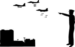 War Is On. A silhouette scene of a commissioned officer in the army sending jets to attack the city Stock Images