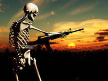 War Skeleton With Background 4. An conceptual image of a skeleton with a gun, it would be good to represent concepts of war Royalty Free Stock Images