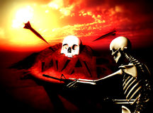 War Skeleton War Background 9. An conceptual image of a skeleton with a gun, it would be good to represent concepts of war Stock Images