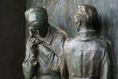 Russian military telephonist, Slavin, Bratislava, Slovakia. War statue metalic relief Stock Photography