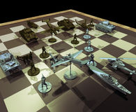 War strategies. Chessboard with war pieces, concept presentation of combat and war strategies royalty free illustration
