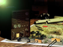 War strategies and communication. Army headquarters with war pieces on a map, concept presentation of combat and war strategies Stock Photography